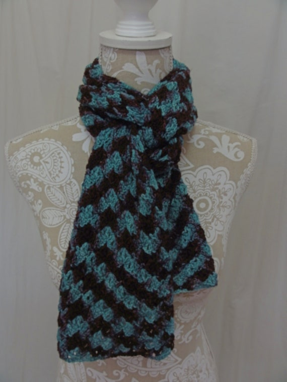 Turquoise and Merlot merino scarf hand dyed