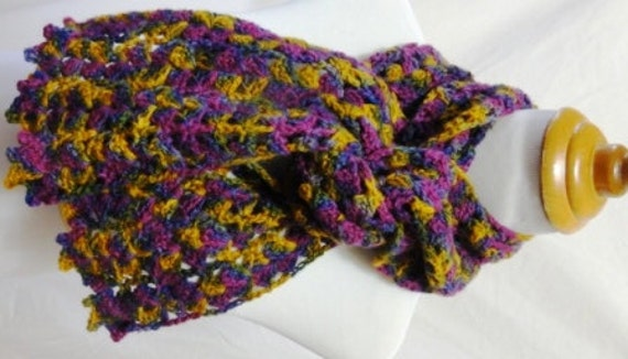 Bright purple green gold and blue wool scarf raised and hand dyed in Michigan