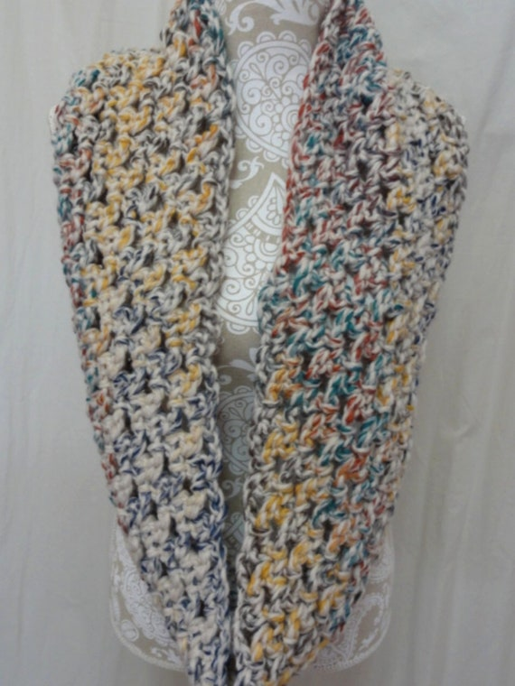 Chunky ivory infinity scarf with multi color speckles