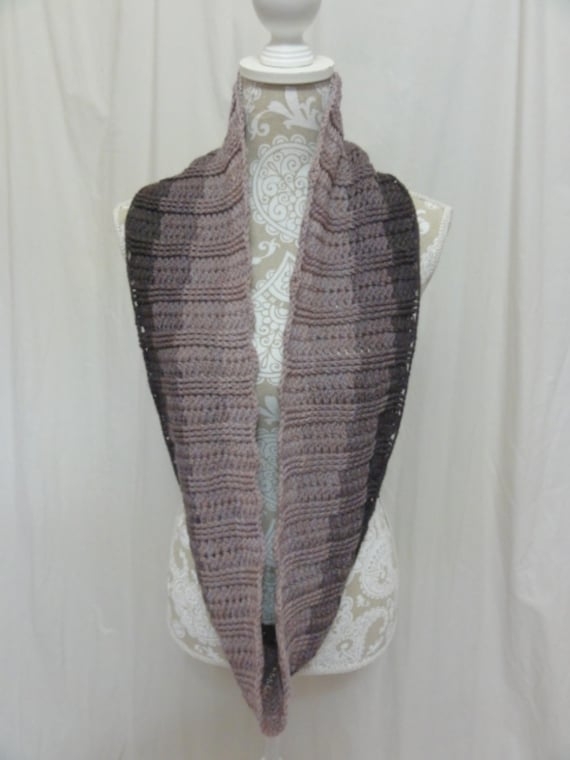 Shades of brown/mauve infinity scarf merino cashmere