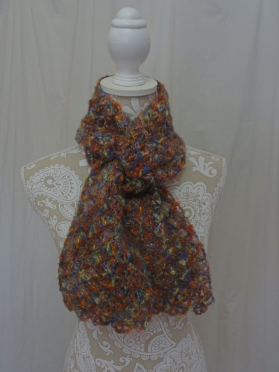 Muted jewel tones mohair scarf