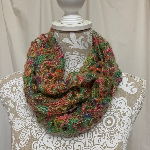 Bright rainbow colors infinity scarf with a touch of sparkle