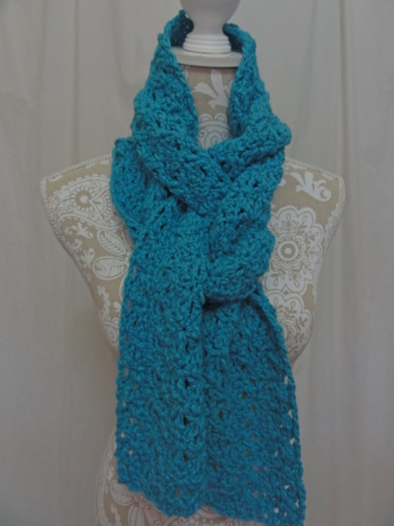 Turquoise blue organic cotton scarf