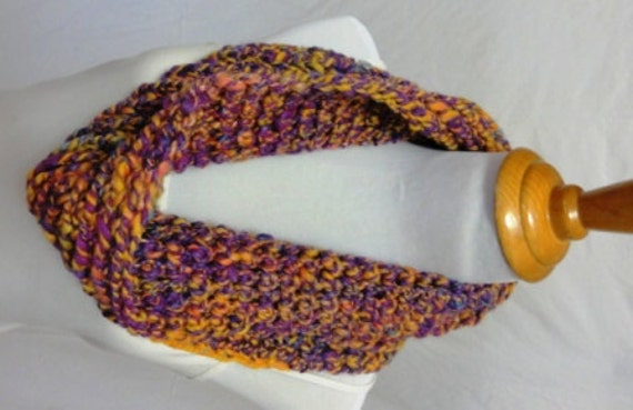 Hand spun purple gold and blue chunky sparkly cowl