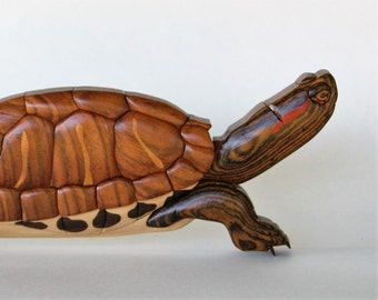 Red Eared Slider Turtle Intarsia Wall Decor Wooden Wall Hanging Tortoise Carving