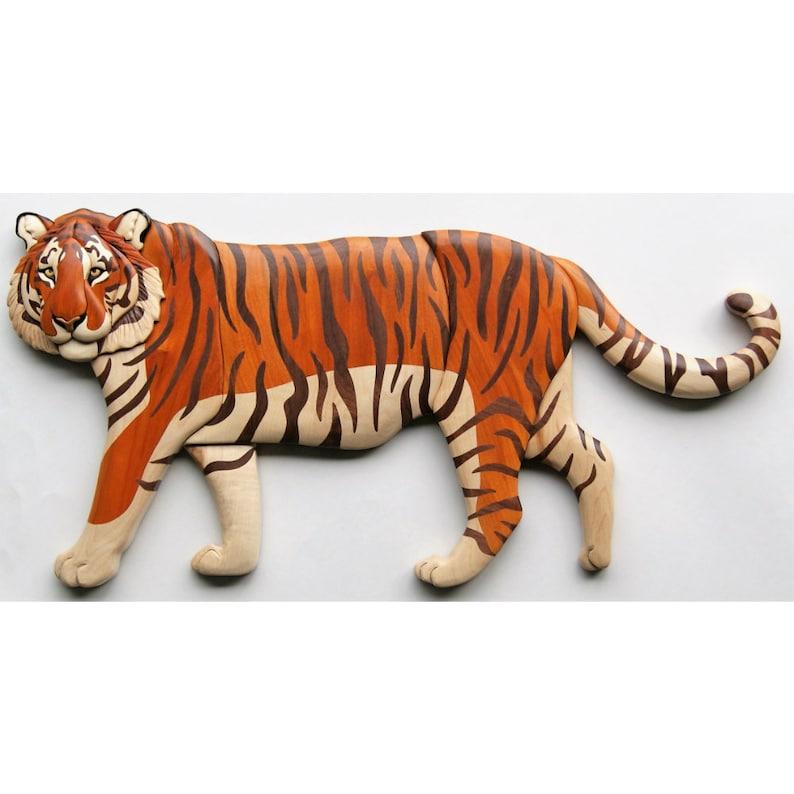 Siberian Tiger Intarsia Wall Hanging Full Body Wood Carving image 0