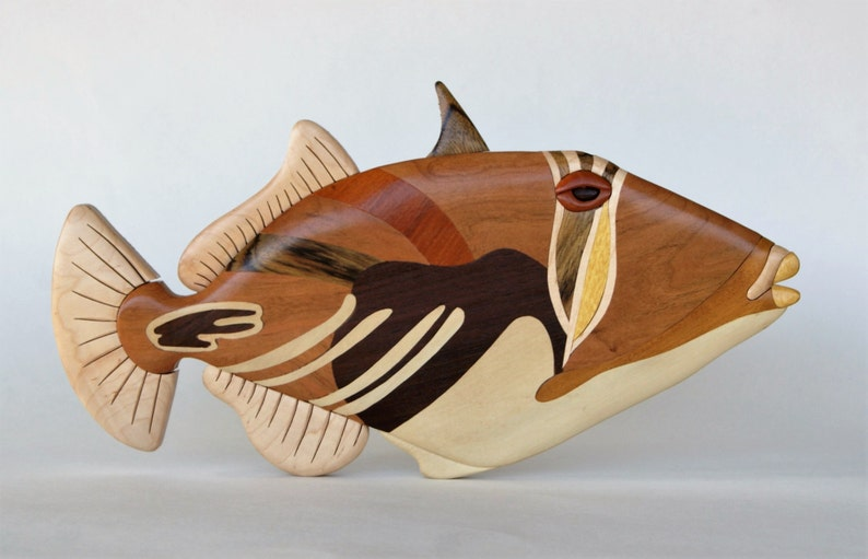 Picasso Triggerfish Intarsia Wall Hanging Wooden Fish Carving image 0