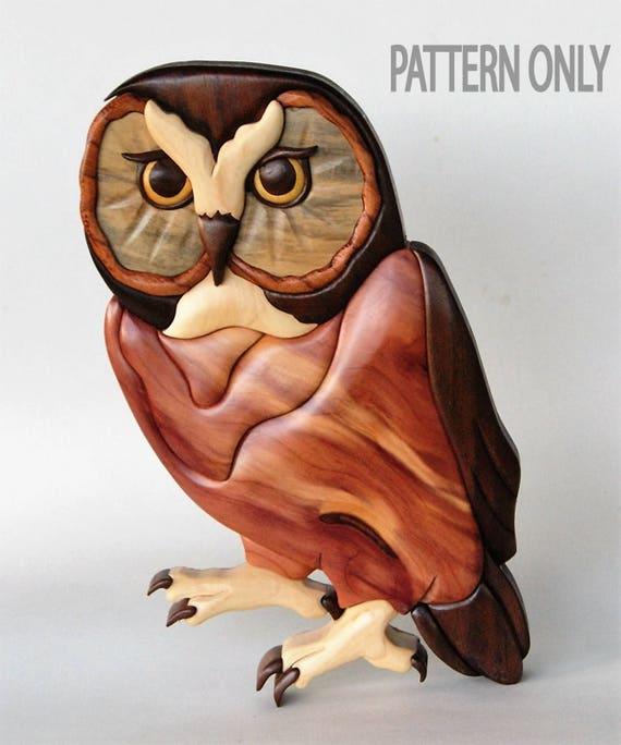 Saw Whet Owl Intarsia Scrollsaw Pattern PDF Digital Download Etsy Awesome Intarsia Patterns