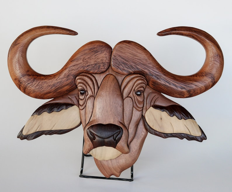 African Buffalo Intarsia Wall Hanging Wooden Bull Carving Wood image 0