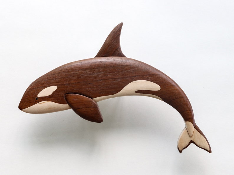 Orca killer whale intarsia wall hanging Wooden animal image 0