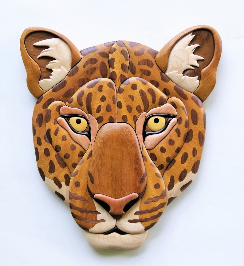 Leopard Intarsia Wall Hanging Cat Wood Carving African image 0