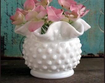Vintage Milk Glass Hobnail Vase / Little Hobnail Vase / Fenton Milk Glass / Petite Hobnail Milk Glass Vase by Fenton