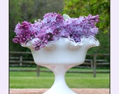 Fenton Silver Crest Compote Fenton Milk Glass Pedestal Milk Glass Bowl Elegant Milk Glass with Crystal Edge Wedding Centerpiece