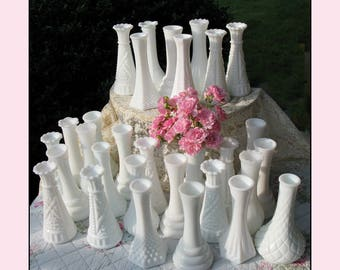 Vintage Milk Glass Bud Vase Collection of Ten / Milk Glass Vases / Vintage Milk Glass /Milk Glass Centerpiece/ Milk Glass Wedding