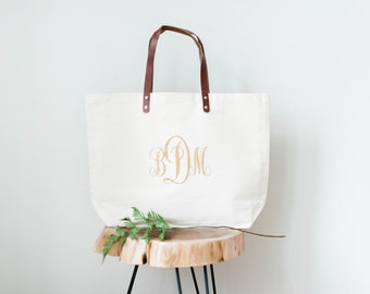 Bridesmaid Bag, Beach Bag, Monogram Bag, Canvas Tote Bag, Bridesmaid Gift  Bag, Wedding Bag, Personalized Bag, Lightweight Tote With Leather c7e3b31d41