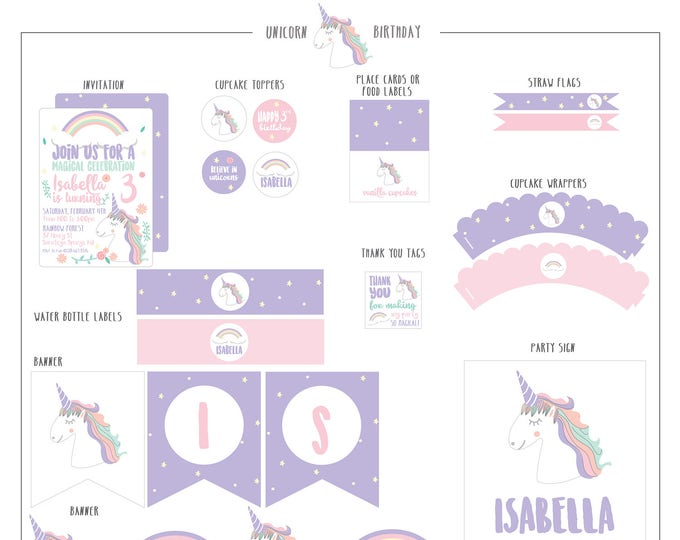 Featured listing image: Unicorn Birthday Collection