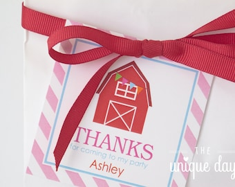 Printable Barn Favor Tags - Farm Thank you tags - Barnyard Birthday Party - Labels // BA - 04