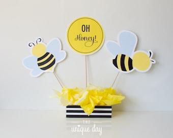 bee gender reveal baby shower - honey bee - centerpiece - decoration - instant download Printable - DIY Party Favor// BEE-06