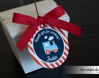 Train Tags - Train Birthday Party - Printable -Thank you tags - labels - favor tags - gift tags // TRA-03