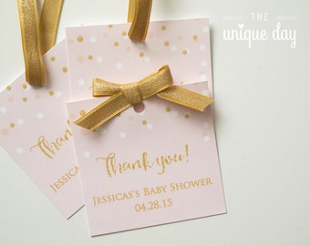 """Pink & Gold Glitter Favor Tags Baby Shower Labels Thank You Tags 3"""" Square Pastel Pink and Gold DIY Printable or Printed // BS-11"""
