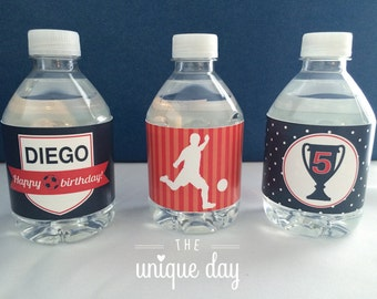 Soccer Water Bottle Labels - Soccer birthday party - Personalized - Printable - DIY// SOC-07