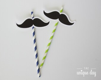 Little man birthday- straw flags mustache - mustache birthday - baby shower - printable - instant download - DIY // MUST-13