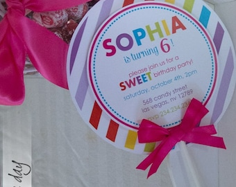 Lollipop Invitations, Candyland Lollipop Invitations, Custom Printed Lollipop Invites, sweet shoppe invitations//LO-01