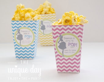 About to Pop Baby Shower -RTP - Pregnant Mom -Chevron - Mini Popcorn Box - Party Favor - Printable - DIY - Personalized // RTP- 05