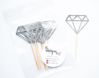 Silver Glitter Diamond Cupcake Toppers - Set of 12