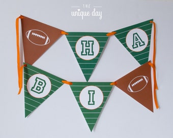 Football HAPPY BIRTHDAY Banner - Personalized - Football Party Decorations, Football Party, Football Birthday Party // FOO - 02