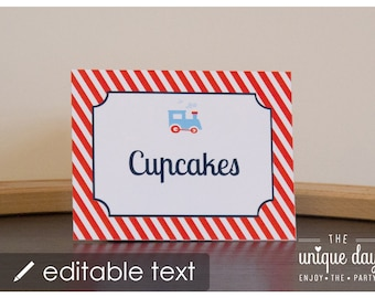 Train Food Labels - EDITABLE & PRINTABLE Food Labels - Train Place Cards - Instant Download // TRA - 05