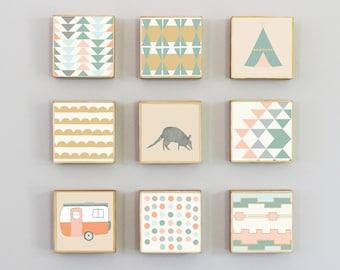 southwestern nursery wall art- nine set of 5x5 art blocks- nursery decor, armadillo, animal prints, boho, geometric print, redtilestudio