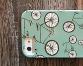 iPhone case- retro bicycle- cyclist lovers case- bike case- iPhone retro green teal case- redtilestudio