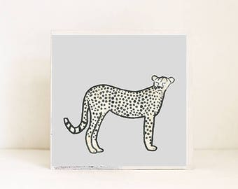 safari nursery art, cheetah print, nursery decor, animal prints, art block, jungle nursery decor, cheetah, print, childrens wall art