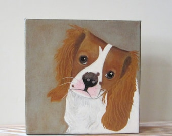 pet portrait, dog painting, puppy, dog portrait-custom painting- 8x8 portrait- dog lover gift idea- painting of your dog-redtilestudio