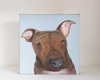 dog painting, dog lover gift idea- custom pet portrait- painting - 8x8 custom painting of your dog- redtilestudio- gift idea pitfall