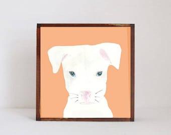 pitbull puppy art- dog nursery art-gender neutral nursery decor, dog puppies nursery prints, nursery decor- redtilestudio