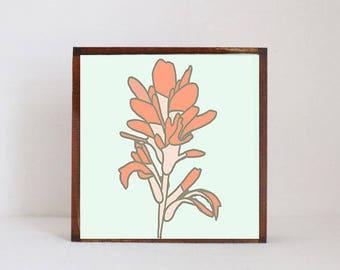 boho nursery flower wall art, floral nursery decor gender neutral baby, childrens wall art, baby room art, art block, flowers, redtilestudio