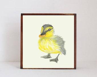 duck nursery art- animal nursery print, woodland nursery decor, duck, animal prints, childrens room decor, redtilestudio art block nursery