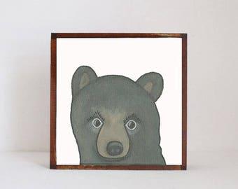 woodland nursery art- black bear art print- forest animals- nursery woodland art- animal print- nursery forest -bear decor- redtilestudio