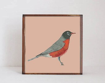 forest nursery decor,  woodland nursery, robin bird wall art- nursery art- rustic kids room decor- neutral nursery- art block -redtilestudio