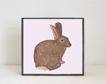 woodland nursery art- bunny rabbit art print- forest animals- nursery woodland art- animal print- nursery forest -bunny decor- redtilestudio