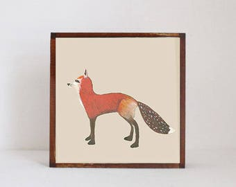 fox woodland nursery art- fox art print- forest animals- nursery woodland art- animal print- nursery forest decor-fox decor- redtilestudio
