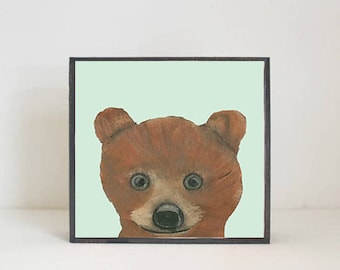 bear woodland nursery art, forest animal nursery prints, 5x5 nursery art block, bear print, forest decor, woodland animals, redtilestudio
