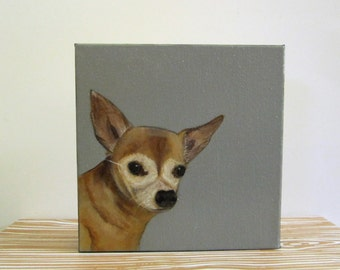pet portrait- custom 8x8 painting of your pet- dog portrait-gift idea for pet lovers-dog lover gift- redtilestudio