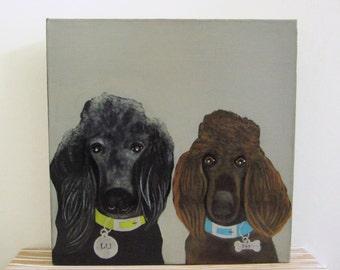 dog portrait, pet portrait- duo- two pets- dog lover gift idea 8x8 or 12x12 custom pet portrait- dog painting -redtilestudio