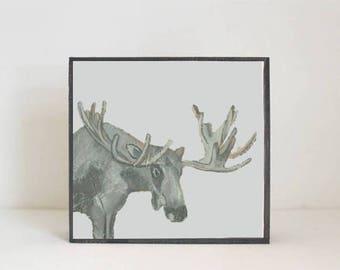 moose woodland nursery art, forest decor, moose art for a nursery- art block- kids room decor in blue- redtilestudio- wall art, animal print