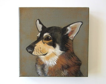 dog portrait, pet painting, personalized dog gift - Custom Dog Painting 8x8- custom dog portrait - gift for dog- dog lovers gift idea
