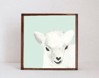 sheep farm animal nursery, barnyard animal print, sheep art for a nursery- art block, rustic nursery, redtilestudio- dall sheep- wall art