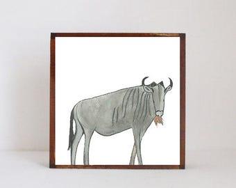 safari nursery art -wildebeest nursery art-  nursery decor, art blocks- redtilestudio -wildebeest  art safari art nursery decor kids room